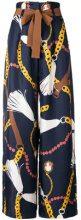 - Alysi - printed palazzo trousers - women - seta/fibra sintetica/acetato - 46, 42, 44 - di colore blu