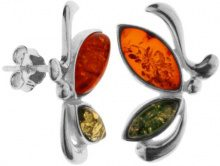 InCollections 0020262013340 - Orecchini a lobo da donna con ambra, argento sterling 925