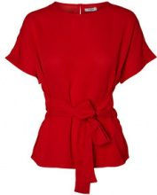PIECES Short Sleeved Tie Blouse Women Red