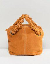 Maxi borsa scamosciata con zip sulla parte superiore e manico arricciato
