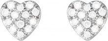 Orecchini cuore in oro bianco 18 kt e diamanti 0,12 ct