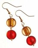 The Jewellery Factory - Orecchini placcati in oro, stile Murano, con perline a forma di goccia doppia, colore: Rosso/Oro