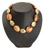 Bedazzled - Collana con perle con stampe animali, colore: Oro/Marrone