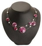 Bedazzled - Collana con filo in acciaio, cerchi smaltati, stampe motivi animali, con cristalli; colore: Rosa; confezione regalo