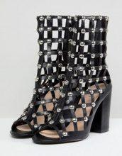 Della - Stivali a gabbia neri con borchie