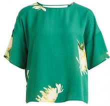 OBJECT COLLECTORS ITEM Patterned Short Sleeved Blouse Women Green