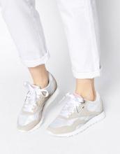 Reebok - Scarpe da ginnastica di nylon classiche bianche e grigie