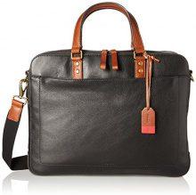 Fossil Herren Tasche - Defender Double Zip Workbag Uomo, Schwarz (Black), 8.9x30.1x39.8 cm (B x H T)