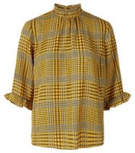 Y.A.S Checked 3/4 Sleeved Blouse Women Yellow