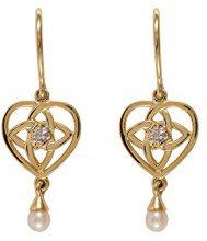 Ivy Gems Donna 9 carati oro giallo Rotonda perla cinesa da coltivazione bianco Perla Diamante
