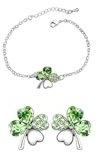 Sasavie-Parure braccialetto Orecchini-Quadrifoglio-Verde-Cristallo-Colore Oro Bianco-Regalo Donna