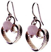 Jane Davis DD0092 realizzato a mano, a forma di cuore, in argento Sterling, orecchini con quarzo rosa