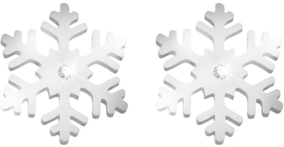 76ddf0d7f574db Orecchini fiocco di neve in acciaio rodiato e cristalli per Donna ...