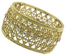 1928 Jewelry Braccialetto elastico con lavorazione fine e cristalli, 17 cm, colore: oro