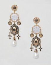 Orecchini importanti stile vintage con moneta e cut-out oro con perle
