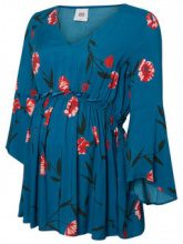 MAMA.LICIOUS Flower Printed 3/4 Sleeved Top Women Blue