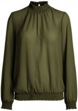 PIECES Solid High Neck Blouse Women Green