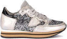 Sneaker Philippe Model Tropez in glitter e ciniglia nera e argento