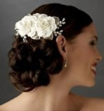 Keeka Glamour fiore pettinino per capelli pettine a bussola a mano con seta Lace perline e cristallo Pinza per capelli sposa matrimonio sposa per capelli clip