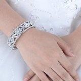 EVER FAITH Fiore modello Matrimonio del nastro trasparente austriaco Braccialettotto di cristallo - silver-tone N03567-1