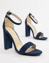 Glamorous - Sandali effetto nudo blu navy a pianta larga con tacco largo