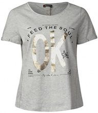 Street One 311909, T-Shirt Donna, Multicolore (Shiny Grey Melange 31339), 44