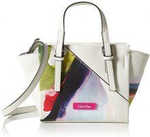Calvin Klein M4RISSA Print Mini Tote, Sacchetto Donna, Bianco (Powder White), 18x10x32 cm (b x h x t)