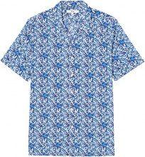 FIND Camicia Stampa Tropicale a Manica Corta Regular Fit Uomo, Blu (Blue Botanical), XX-Large