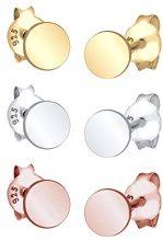 Elli Set di orecchini da donna, in argento placcato oro, Tricolore 0310880615