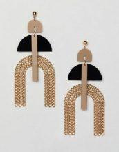 Orecchini oro con frange a catenina in resina