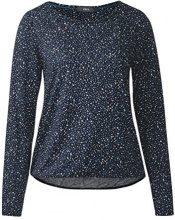 Cecil NOS Melia, T-Shirt Donna, Blau (Deep Blue 30128), Small