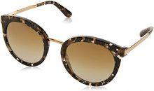 Dolce & Gabbana 0DG4268 911/6E 52, Occhiali da Sole Donna, Nero (Cube Black/Gold/Gradlightbrownmirrorgold)