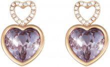 Orecchini cuore in metallo rosato e pietre colore