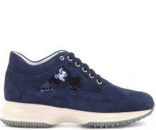 Sneaker Hogan Interactive in camoscio e paillettes blu