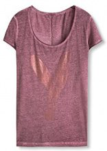 edc by Esprit 096CC1K061, T-Shirt Donna, Rosso (Bordeaux Red), 36 (Taglia Produttore: Small)