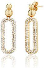 Ingenious Jewellery-Orecchini pendenti in argento con ovale con pavé ovale ES006030/GLD