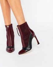 Lost Ink Avis Zip Front Heeled Ankle Boots