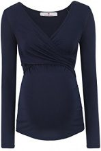 Bellybutton Laila-Stillshirt 1/1 Arm, Maglietta a Maniche Lunghe Premaman Donna, Blu (Istanbul Blue 3404), 42 (Taglia Produttore: S)