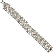 Cristalina Collana placcata al rodio, con cristallo a forma di foglia, lunghezza 20 cm