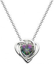 Collana Heritage in argento Sterling con topazio mistico, motivo: cuore con nodo, lunghezza: 45,7 cm