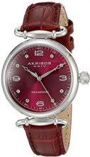 Akribos XXIV-Orologio da donna al quarzo con Display analogico e cinturino in pelle, AK878BUR, colore: rosso