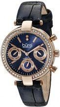 Burgi BUR129BU Orologio da Polso al Quarzo, Analogico, Donna, Pelle, Blu