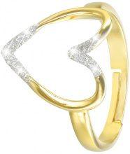 Anello cuore in ottone dorato e glitter per Donna