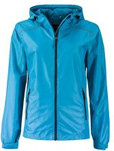 James & Nicholson Ladies' Rain Jacket, Giacca Impermeabile Donna, Türkis (Turquoise/Iron-Grey), 46