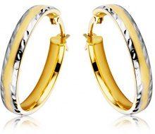 Miore Orecchini Donna Cerchio due colori Oro Giallo e Oro Bianco 9 Kt / 375
