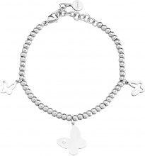Bracciale charms farfalla in acciaio e cristalli per Donna
