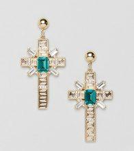 Orecchini con croce oro e dettaglio smeraldo