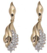 H. Gaventa Ltd - Orecchini pendenti da donna con diamante, oro giallo 9k (375), cod. E-11062