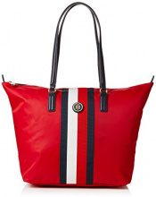 Tommy Hilfiger Classic Zip-Up Stripe Tote - Borsa Donna, Rosso (Red/Core Stripe), 14x32x47 cm (B x H x T)