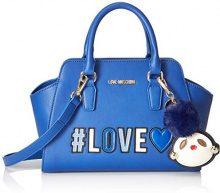 Love Moschino Borsa Pu - Borsette da polso Donna, Blu, 12x21x34 cm (B x H T)